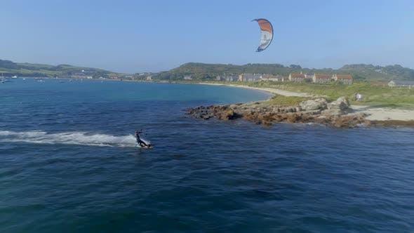 Thumbnail for Kitesurfer in an Ocean Bay