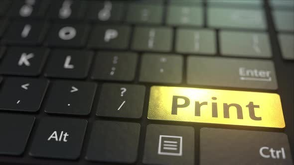 Thumbnail for Black Computer Keyboard and Gold Print Key