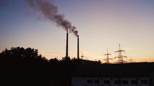 Thumbnail for Industrial pipes of the thermal power plant at sunset