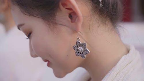 Earring Of Girl Walking