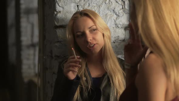 Thumbnail for Young Ladies Inhaling Tobacco Smoke and Talking at Party, Bad Unhealthy Habit