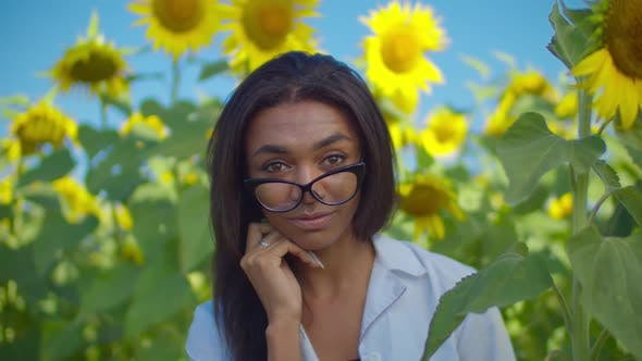 Thumbnail for Lovely Woman Agronomist Posing in Cultivated Field