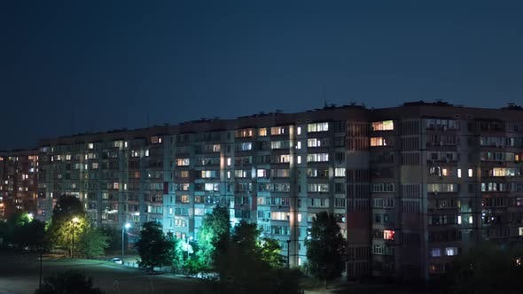 Thumbnail for Multistorey Building with Changing Window Lighting At Night. Timelapse