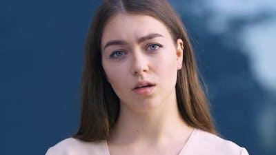Closeup of Female Displeased Face