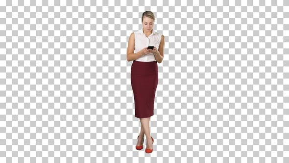 Thumbnail for Attractive european female with smartphone in hand touching