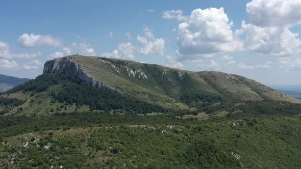 Descending on summer scenery with Stol mountain forests 4K aerial video