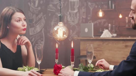 Thumbnail for Attractive Girl on a Date with Her Boyfriend Looking Happy