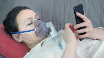 Woman with Respiratory Inhalation