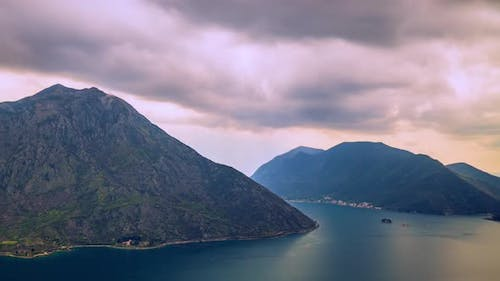 Adriatic Sea, Boka Kotor Bay, the Movement of Clouds Over the Mountains in Montenegro Timelapse Made