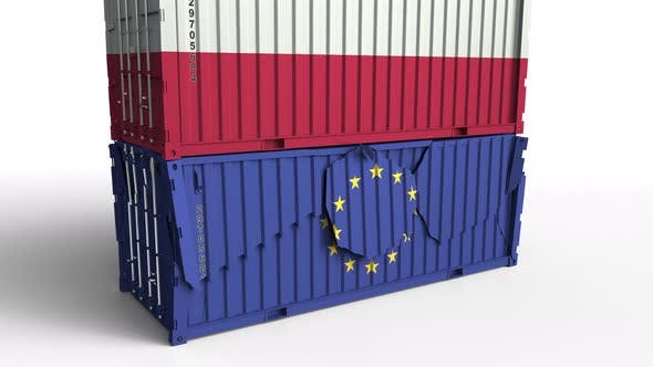 Thumbnail for Container with Flag of Poland Breaks Cargo Container with Flag of EU