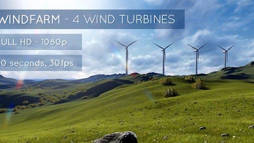 Windfarm - 4 Wind Turbines on a Sunny Landscape