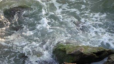Waves Break on the Shore. Waves Break on the Rocks.