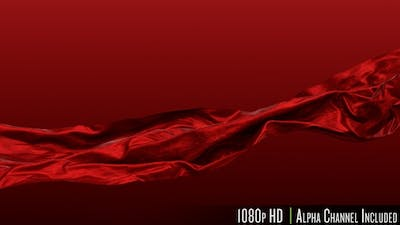Red Satin Fabric Cloth Waving in the Wind with Alpha Channel