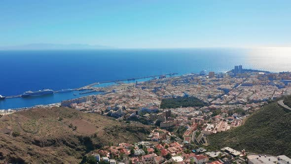 Thumbnail for Aerial View. Santa Cruz De Tenerife. Panoramic View at City of Santa Cruz De Tenerife.