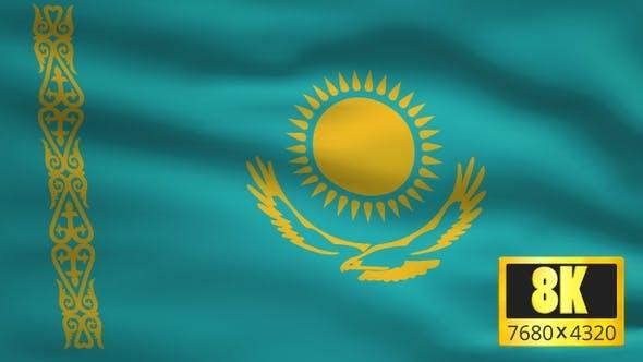 8K Kazakhstan Windy Flag Background