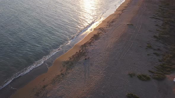 Thumbnail for Girl hugging and caressing her dog on the beach at sunset. Aerial view, orbital shot