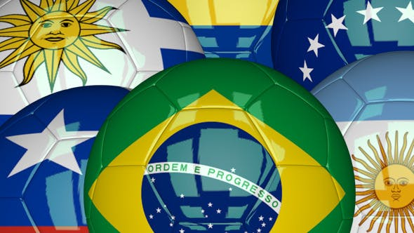 Thumbnail for 3D Soccer Ball - South America Flags