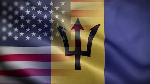 USA Barbados Flag Loop Background 4K