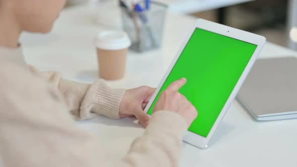 Thumbnail for Woman Using Tablet with Chroma Screen