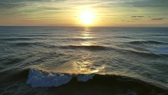Thumbnail for Aerial of Big Waves of Atlantic Ocean and Sunset