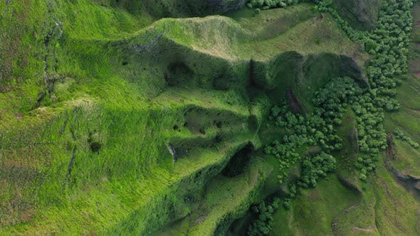 Thumbnail for Fantastic Aerial View Over Picturesque Volcanic Cliffs with Tropical Green Covering Them