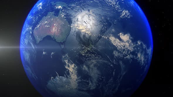 Realistic Earth Zoom Out Clouds New Zealand Wellington