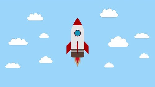 Rocket flying on the sky, start up concept.