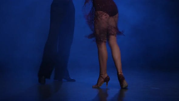 Thumbnail for Couple Dancers of Rumba Posing on the Floor, Blue Background