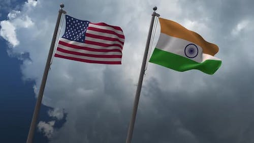 Waving Flags Of The United States And The  India 2K