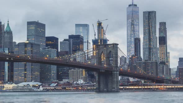 Thumbnail for New York City , USA, Timelapse  - Brooklyn Bridge from day to night | New York City