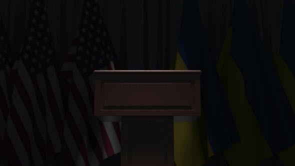 Flags of Ukraine and the USA at International Meeting
