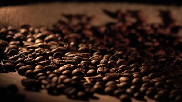 Thumbnail for Coffee Beans with Star Anise on Barrel, Cam Moves To the Right, Shadow