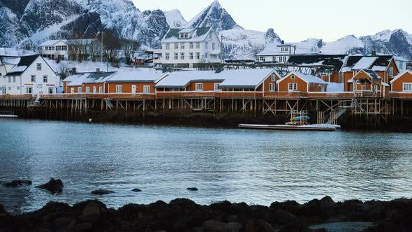 Thumbnail for Famous Multicolored Wooden Fishing Houses Rorbu On A Sea Shore