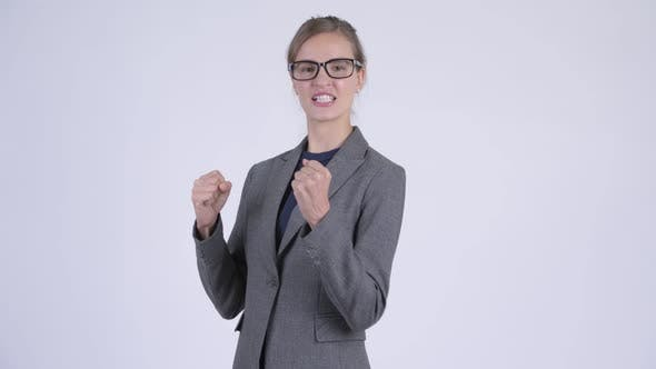 Cover Image for Young Happy Businesswoman Ready To Fight