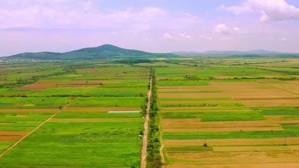 Vue aérienne sur les terres agricoles