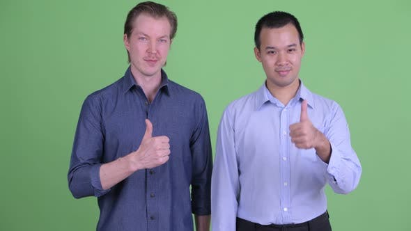 Thumbnail for Two Happy Multi Ethnic Businessmen Giving Thumbs Up Together