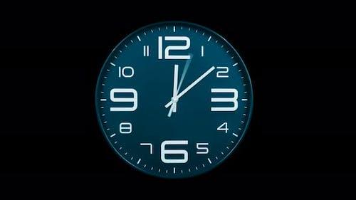 Modern Light Blue Clock Face Moving Fast Forward