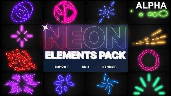Thumbnail for Neon Elements | Motion Graphics Pack
