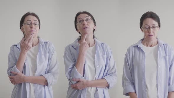 Portrait of Adult Brunette Caucasian Woman in Eyeglasses Thinking. Triple Image of Same Person