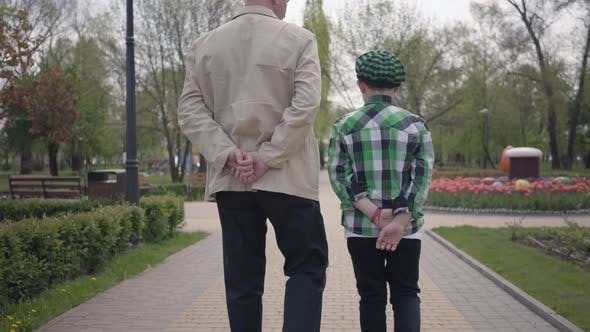 Thumbnail for Portrait Grandfather and Grandson Walking in the Park with Their Backs To Camera