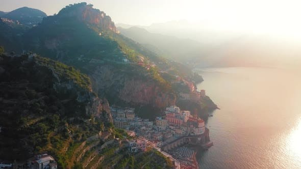 Thumbnail for A Picture Perfect Shot Atrani Aerial By Dawn, Amalfi Coast