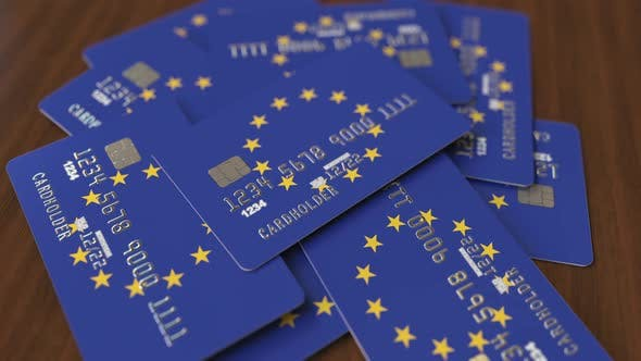 Thumbnail for Pile of Credit Cards with Flag of the European Union