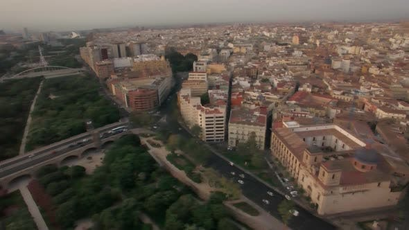 Aerial view of Valencia parks and city centre, Spain