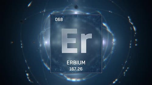 Erbium as Element 68 of the Periodic Table on Blue Background