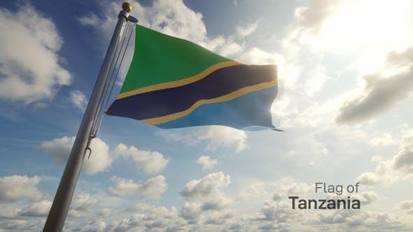 Tanzania Flag on a Flagpole