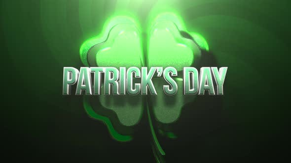 Animation St Patricks Day text and motion big green shamrocks on Saint Patrick Day shiny background