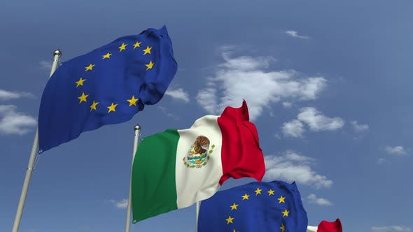 Thumbnail for Waving Flags of Mexico and the EU on Sky Background