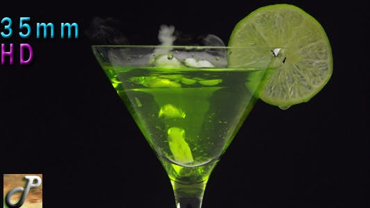 Cocktail In Martini Glass Green Lime