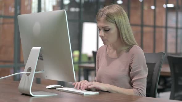 Thumbnail for Ambitious Young Woman Working on Computer