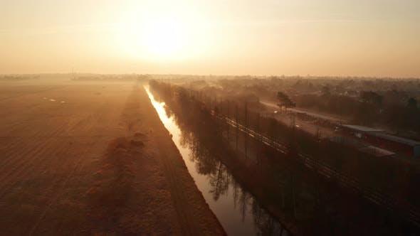 Golden Sunrise Over at Rural Area in Jutland